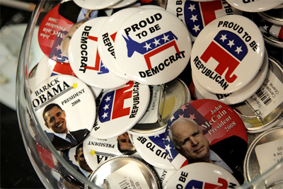 Obama and McCain 08 buttons