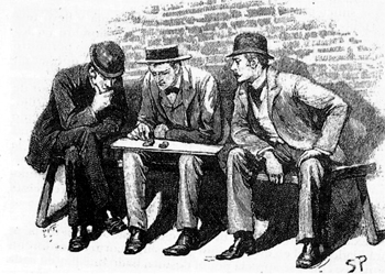 """We all sat down while Holmes examined..."""